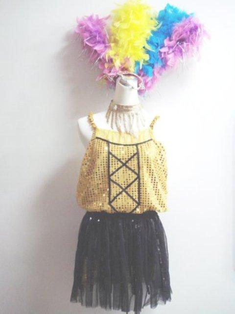 特殊-45-無袖金亮片黑蓬裙