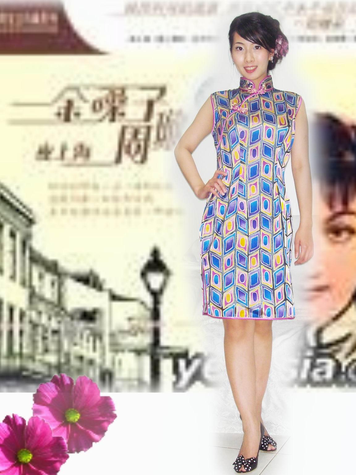 旗袍-4-紫花格旗袍