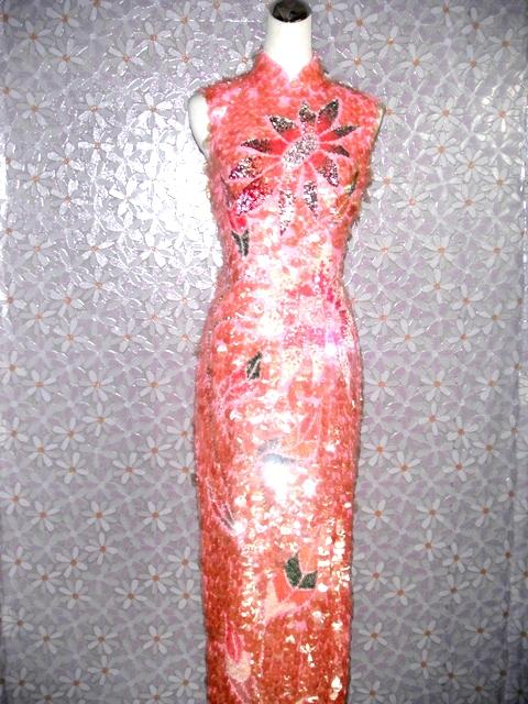 旗袍-13-粉亮片旗袍