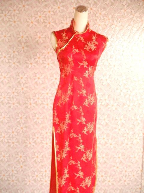 旗袍-20-金竹梅旗袍